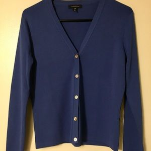 LANDS END ROYAL BLUE CARDIGAN SWEATER PETITE SMALL